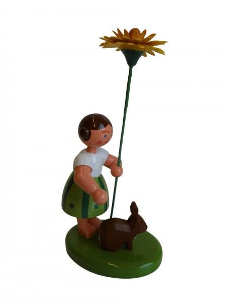 Blumenkind Mädchen mit Reifentier und Löwenzahn von WEHA-Kunst