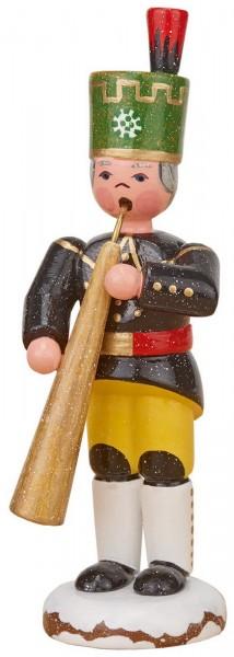 Winterkind Bergmann mit Russischem Horn von Hubrig Volkskunst GmbH Zschorlau/ Erzgebirge ist 9 cm groß.