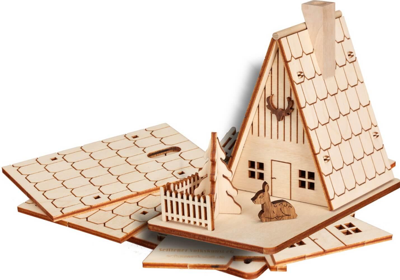 Bastelset Räucherhaus Forsthaus aus Holz zum selber bauen