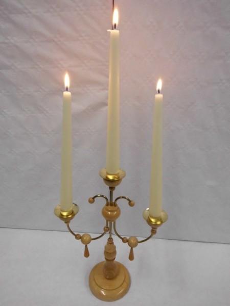 Leuchter, 3- armig natur ohne Kerzen, 28 cm hoch, Nestler-Seiffen.com OHG Seiffen/ Erzgebirge