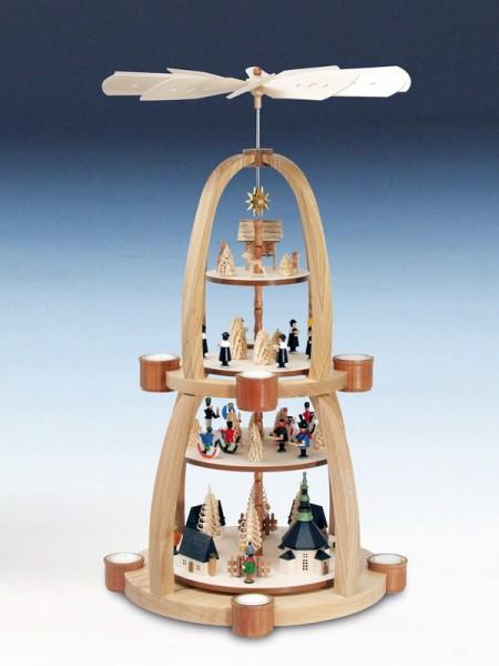 Weihnachtspyramide Seiffener Dorf mit Kurrende und Rehen und Laternenkinder, bunt, 4 - stöckig, 70 cm, Knuth Neuber Seiffen/ Erzgebirge