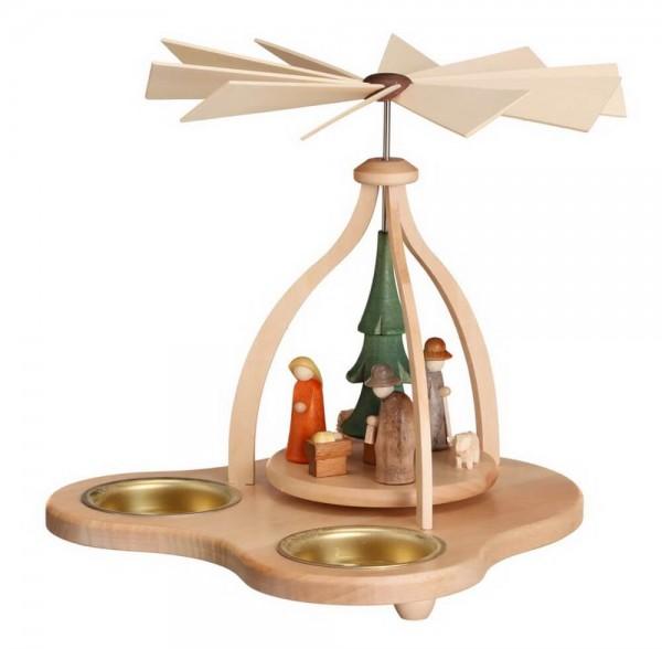 Teelichtpyramide mit Heiliger Familie, 14 cm Größe ca. 14 cm, Figuren: 3,5 cm Betrieb mit Teelichte Material: heimische Hölzer, hochwertige Farben und Lacke …