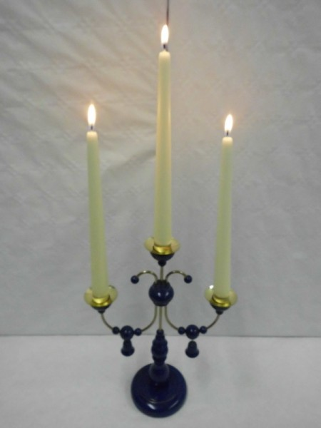 Leuchter, 3- armig dunkelblau, ohne Kerzen, 28 cm hoch, Nestler-Seiffen.com OHG Seiffen/ Erzgebirge