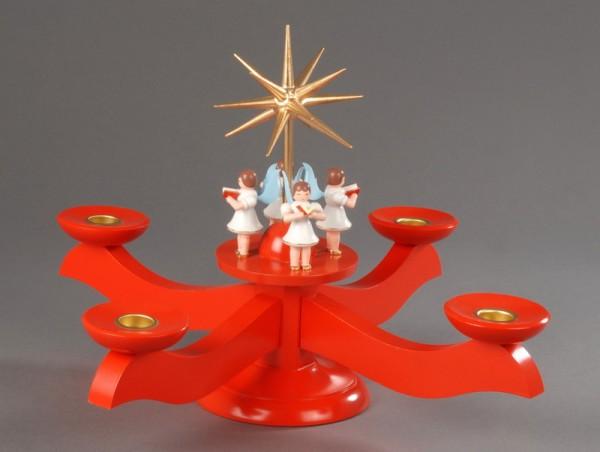 Adventsleuchter, rot - 4 stehende Engel, Adventsleuchter aus massivem Buchenholz, rot lackiert, Engel mit Gesangbuch gedrechselt in Handarbeit bemalt, Stern …