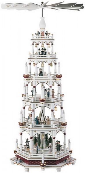 KWO Pyramide Motiv Weihnachtsgeschichte, weiß - bordeaux, 106 cm elektrische angetrieben und beleuchtet