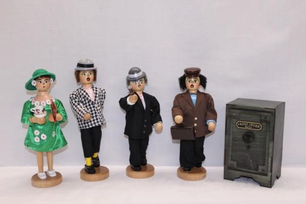 Räuchermann Olsenbande komplett, Egon (20,0 cm), Benny (23,0 cm) und Kjeld (20,0 cm), Yvonne (20,0 cm) und Tresor, Typ Franz Jäger Berlin aus Holz, 9,5 x 7,5 …