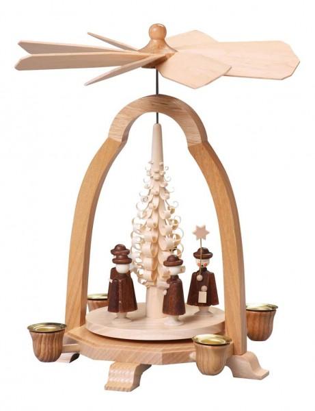 Weihnachtspyramide mit Kurrende, 24 cm von Thomas Preißler Seiffen/ Erzgebirge Höhe: ca. 24 cm Betrieb mit Pyramidenkerzen Material: heimische Hölzer, …