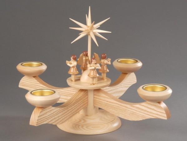 Adventsleuchter, natur - 4 stehende Engel, Adventsleuchter aus massivem Eschenholz, naturbelassen, Engel mit Gesangbuch gedrechselt, in Handarbeit bemalt, …