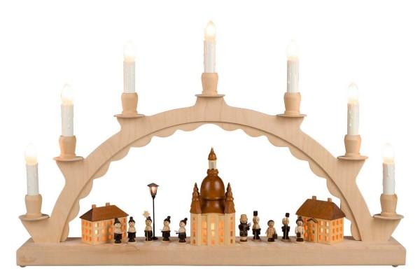 Innenbeleuchteter Schwibbogen mit Dresdener Frauenkirche und Kurrende von Nestler-Seiffen_Bild1