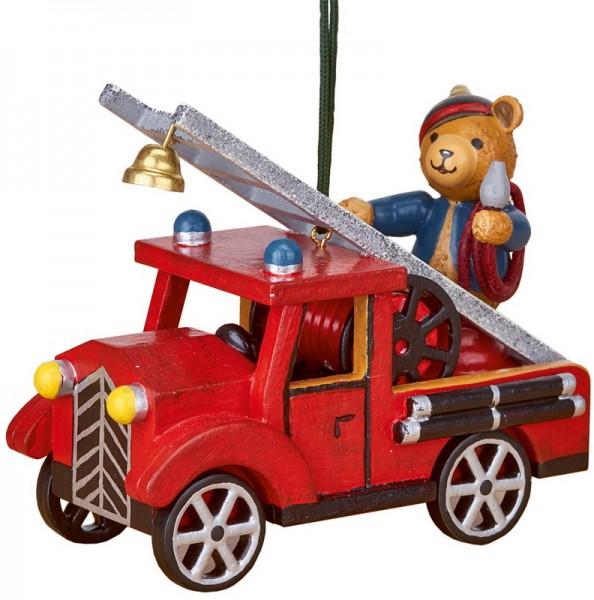 Christbaumschmuck Feuerwehr mit Teddy, 8 cm, Hubrig Volkskunst