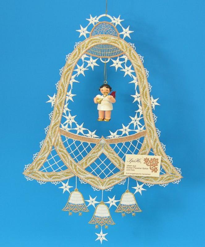 Fensterbild Plauener Spitze Glocke, beige und Weihnachtsengel mit Waldhorn, rote Flügel, 31,0 x 22,0 cm, Frieder & André Uhlig Seiffen/ Erzgebirge