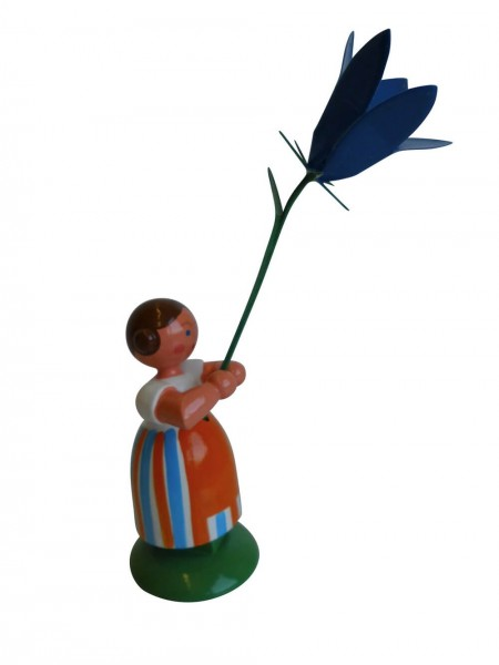 Blumenkinder - Feld- und Wiesenblumenkind Mädchen mit Glockenblume, 11 cm von WEHA-Kunst Dippoldiswalde/ Erzgebirge