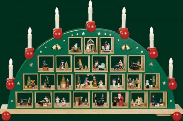 Schwibbogen Adventskalender, elektrische Beleuchtung, 48 cm x 76 cm, Richard Glässer GmbH Seiffen/ Erzgebirge