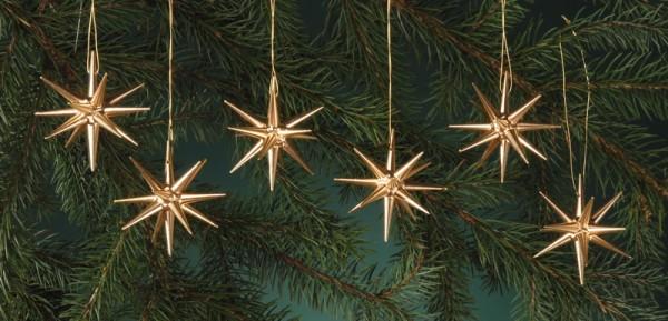 Baumbehang & Christbaumschmuck aus Holz, gold - kleine Weihnachtssterne, 6 - teilig, 7 cm, Albin Preißler Seiffen/ Erzgebirge