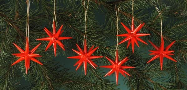 Baumbehang & Christbaumschmuck aus Holz, rot - kleine Weihnachtssterne, 6-teilig, 7 cm, Albin Preißler Seiffen/ Erzgebirge
