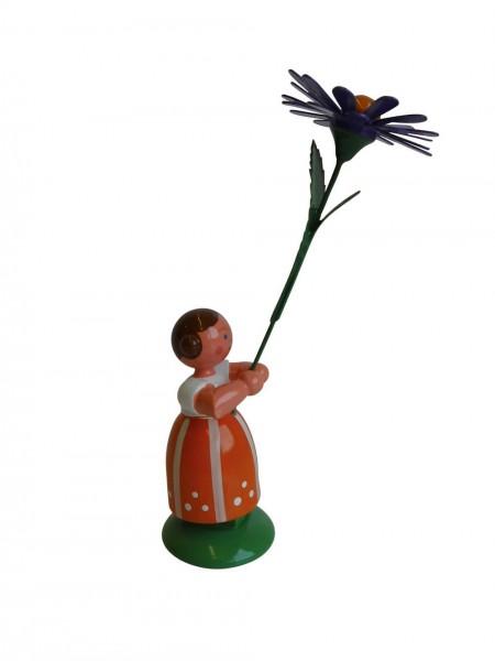 Blumenkinder - Feld- und Wiesenblumenkind Mädchen mit Aster, 11 cm von WEHA-Kunst Dippoldiswalde/ Erzgebirge
