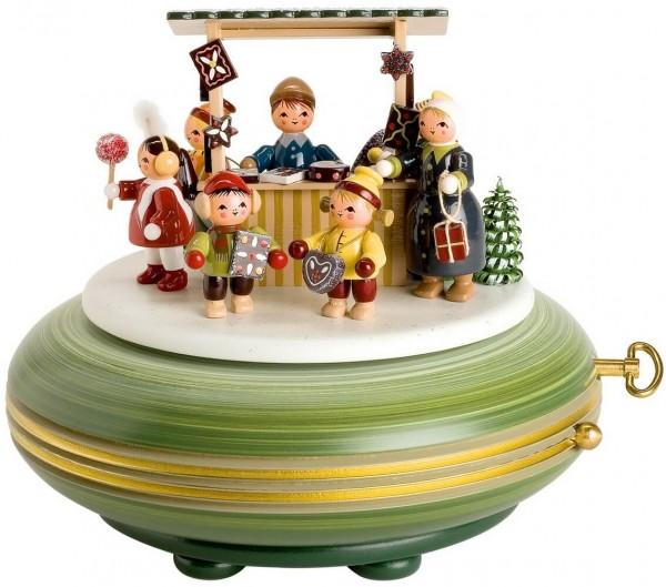 Spieluhr & Spieldose Weihnachstmarkt, 15 cm, Melodie Oh du Fröhliche, 28 stimmiges, mechanisches Spielwerk von KWO Kunstgewerbe-Werkstätten Olbernhau/ …