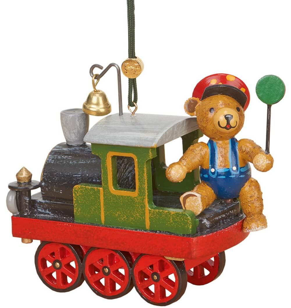 Baumbehang & Christbaumschmuck Lok mit Teddy von Hubrig Volkskunst GmbH Zschorlau/ Erzgebirge ist 10 cm groß.