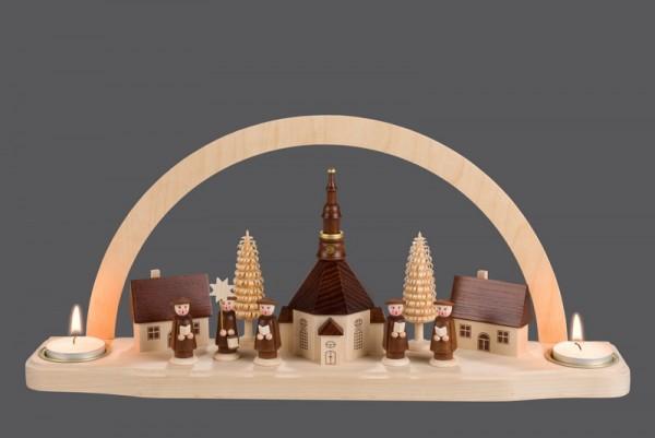 Schwibbogen Seiffener Kirche für Teelichter, 35 x 27 cm, Nestler-Seiffen.com OHG Seiffen/ Erzgebirge