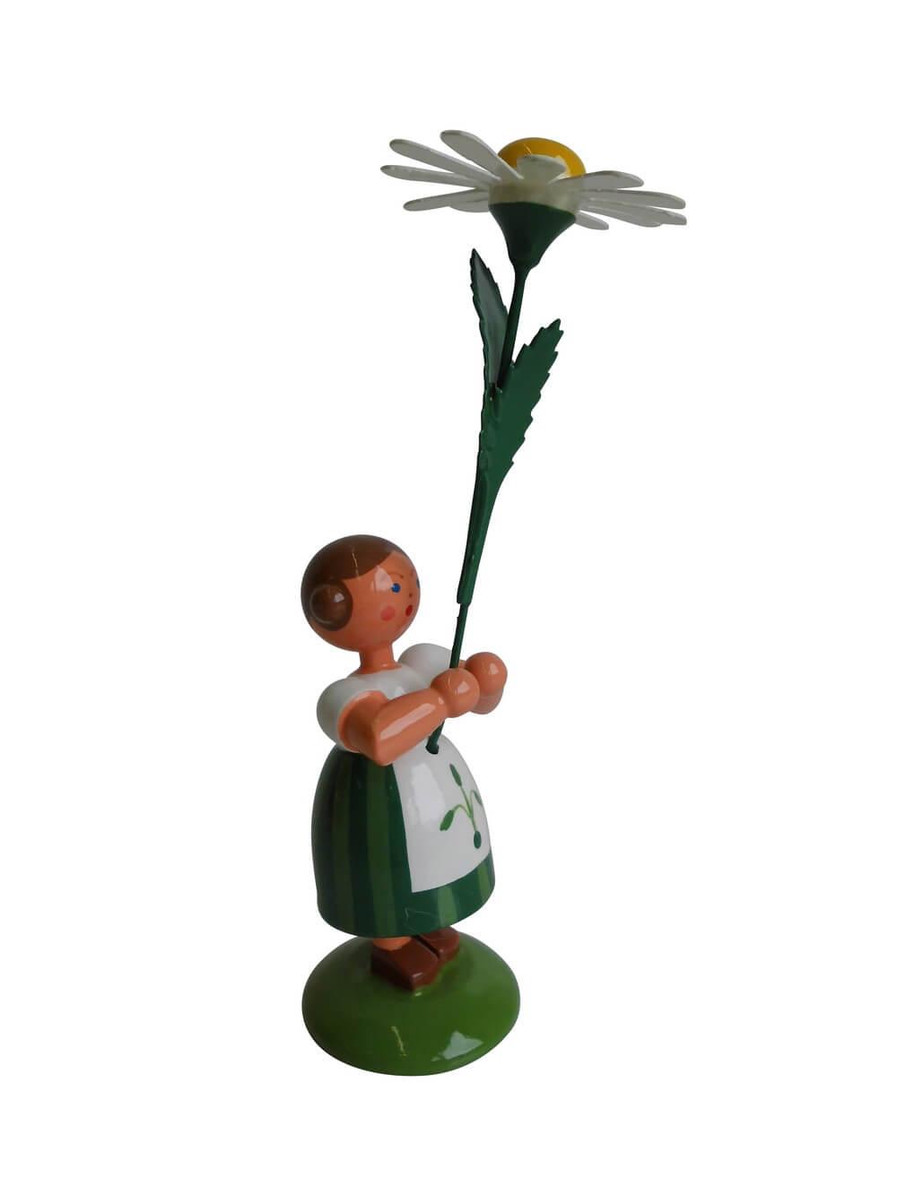 Blumenkinder - Sommerblumenkind Mädchen mit Margerite, 12 cm von WEHA-Kunst Dippoldiswalde/ Erzgebirge