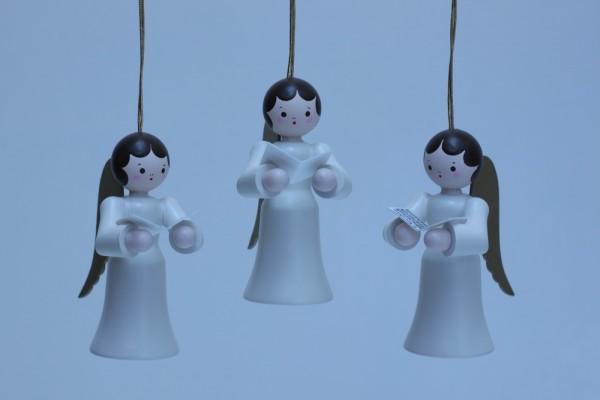 3 Weihnachtsengel, hängend in weiss mit Gesangsbuch