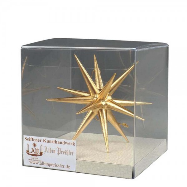 Christbaumschmuck aus Holz, Weihnachtsstern gold, 10 cm hergestellt von Albin Preißler