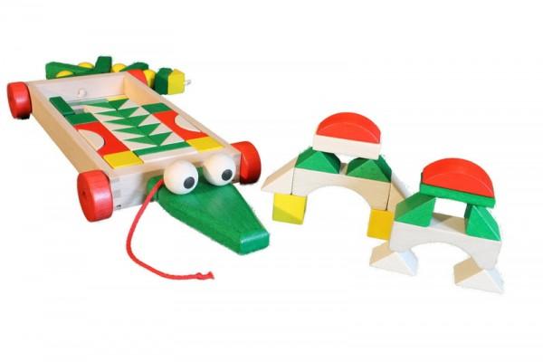 Bauwagen Krokodil mit 47 Bausteinen von Ebert GmbH