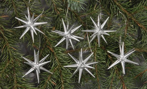 Baumbehang & Christbaumschmuck aus Holz, silber - kleine Weihnachtssterne, 6-teilig, 7 cm, Albin Preißler Seiffen/ Erzgebirge