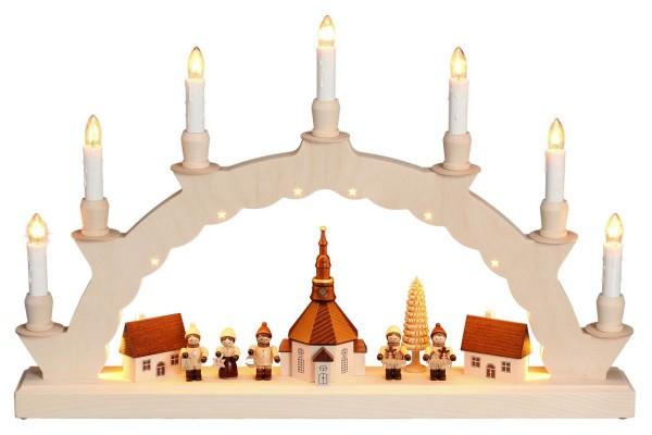Schwibbogen von Nestler-Seiffen mit dem Motiv Seiffener Dorf mit Romy Thiel Kinder und 2-facher Beleuchtung_Bild1