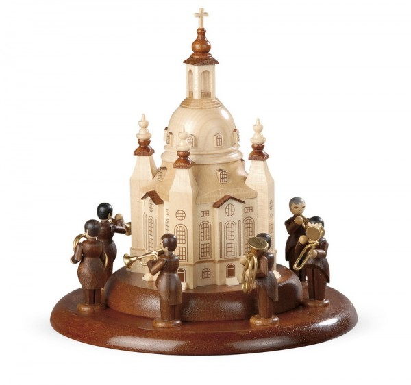 Motivplattform für Spieluhr von Müller GmbH Kleinkunst aus dem Erzgebirge, Motiv Blechbläserensemble Ludwig Güttler an der Frauenkirche