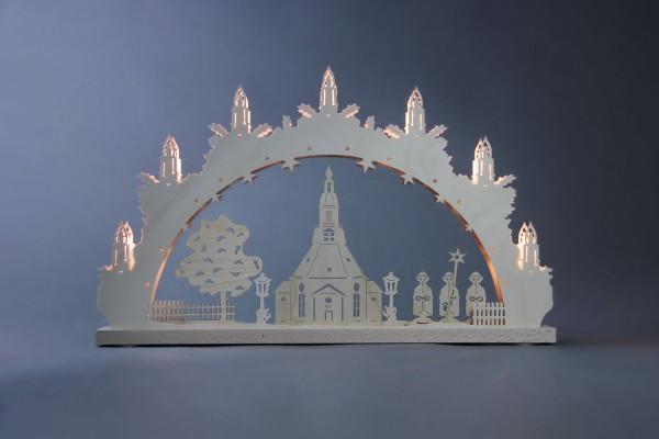 Schwibbogen Seiffener Kirche, 7 flammig, elektrisch beleuchtet, 52 x 32 x 4,5 cm von Weigla - Günter Gläser Deutschneudorf/ Erzgebirge Der …