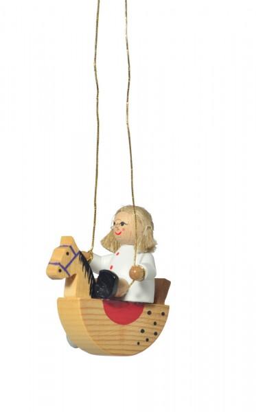 KWO Christbaumschmuck Puppe auf dem Schaukelpferd zum Hängen für den Weihnachtsbaum