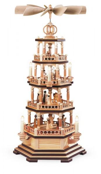 Weihnachtspyramide Heilige Geschichte, 4 - stöckig, natur, elektrisch, 230 V, 70 cm, hergestellt von Müller Kleinkunst aus Seiffen