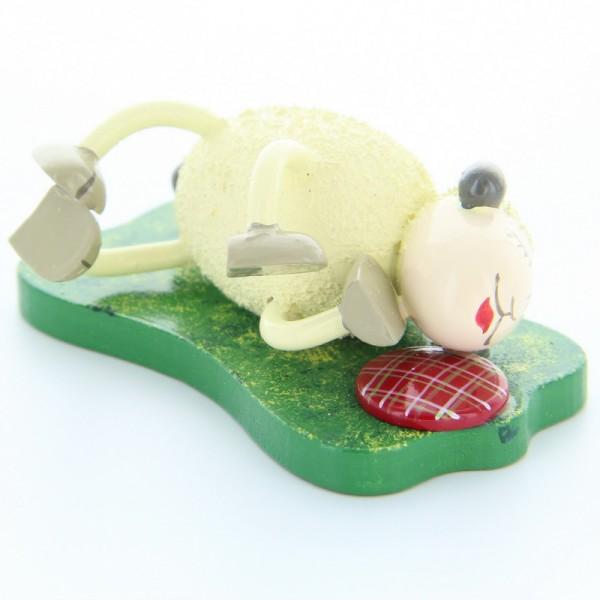 Schaf Fauli, liegend auf Seite, 3,5 cm, Frieder & André Uhlig Seiffen/ Erzgebirge