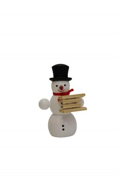 Schneemann von Nestler-Seiffen mit Schlitten, stehend_Bild3
