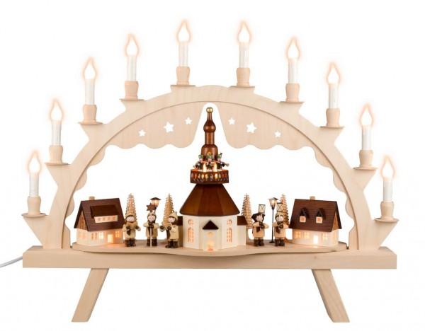 Schwibbogen von Nestler-Seiffen mit großem Seiffener Dorf und Romy Thiel Kinder und Turmbläsern, elektrisch beleuchtet_Bild1