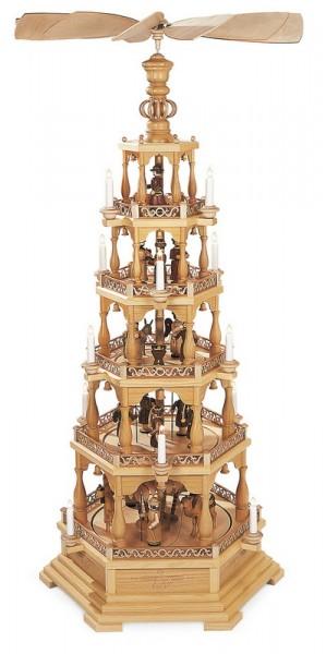 Weihnachtspyramide Heilige Geschichte, 5 - stöckig, elektrisch angetrieben und beleuchtet (120 V 50 Hz), 66 x 57 x 142 cm, Müller GmbH Kleinkunst aus dem …