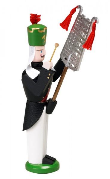 Erzgebirgischer Bergmann mit Lyra, handbemalt und in Handarbeit gefertigt, 13 cm von Volkskunstwerkstatt Eckert aus Seiffen/ Erzgebirge