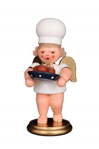 Weihnachtsengel - Bäckerengel mit Pfannkuchen, 8 cm von Christian Ulbricht GmbH & Co KG Seiffen/ Erzgebirge