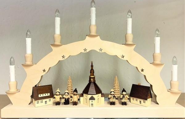Schwibbogen von Nestler-Seiffen mit Seiffener Dorf, Thiel Kinder und 3-facher Beleuchtung