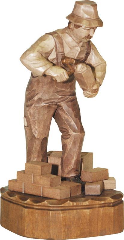 Maurer, gebeizt, geschnitzt, 25 cm