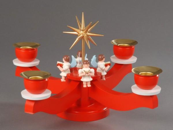 Adventsleuchter, rot - 4 sitzende Engel, Adventsleuchter aus massivem Buchenholz, rot lackiert, Engel mit Gesangbuch gedrechselt, in Handarbeit bemalt, …