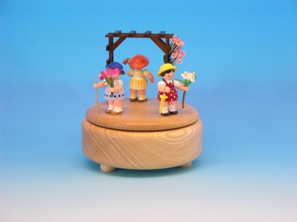 Spieluhr & Spieldose natur mit 3 Blumenkindern, 13,0 x 13,0 x 14,0 cm, Frieder & André Uhlig Seiffen/ Erzgebirge