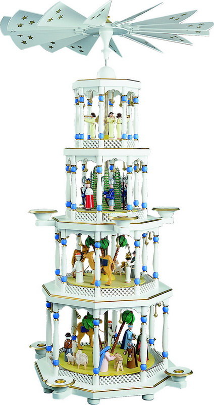 Weihnachtspyramide Christi Geburt, 4 - stöckig, weiß, 94 cm hoch, Richard Glässer GmbH Seiffen/ Erzgebirge