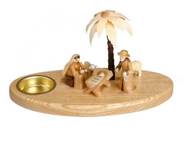 Weihnachtskrippe mit Teelicht und Maria und Joseph, 11 cm Größe ca. 11 cm, Figuren je 6 cm Beleuchtung: Teelichte Material: heimische Hölzer, hochwertige …
