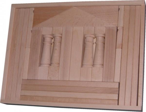 Holzbaukasten Domizil IV, 27 Holzbausteine, 37,5 x 28,5 x 4,5 cm, Spielalter ab 1 Jahr, Erzgebirgische Holzspielwaren Ebert GmbH Olbernhau/ Erzgebirge