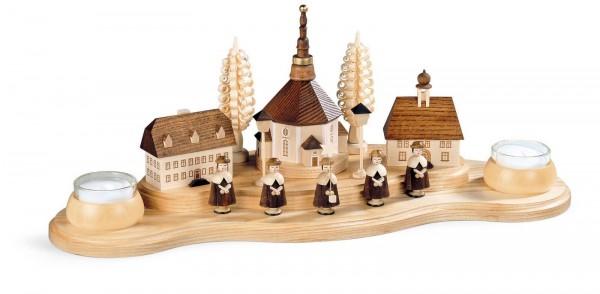 Weihnachtskerzenhalter Seiffener Dorf, natur, für Teelichter von Müller Kleinkunst