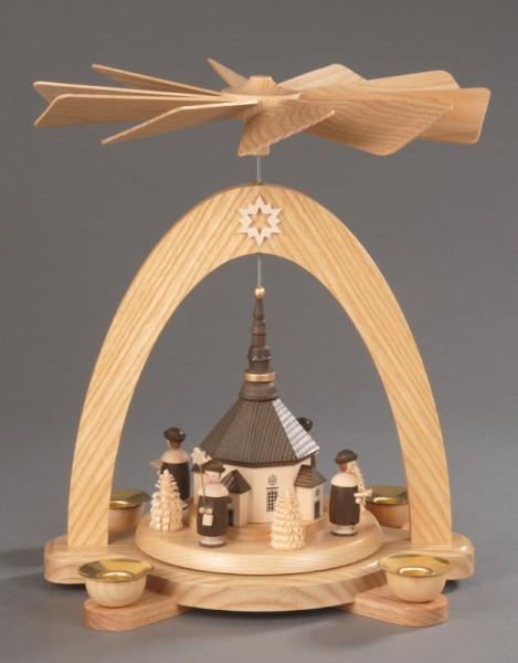 Weihnachtspyramide Seiffener Kirche mit Kurrende, Seiffener Weihnachtspyramide aus massivem ausgewählten Eschenholz, naturbelassen, die berühmte Seiffener …