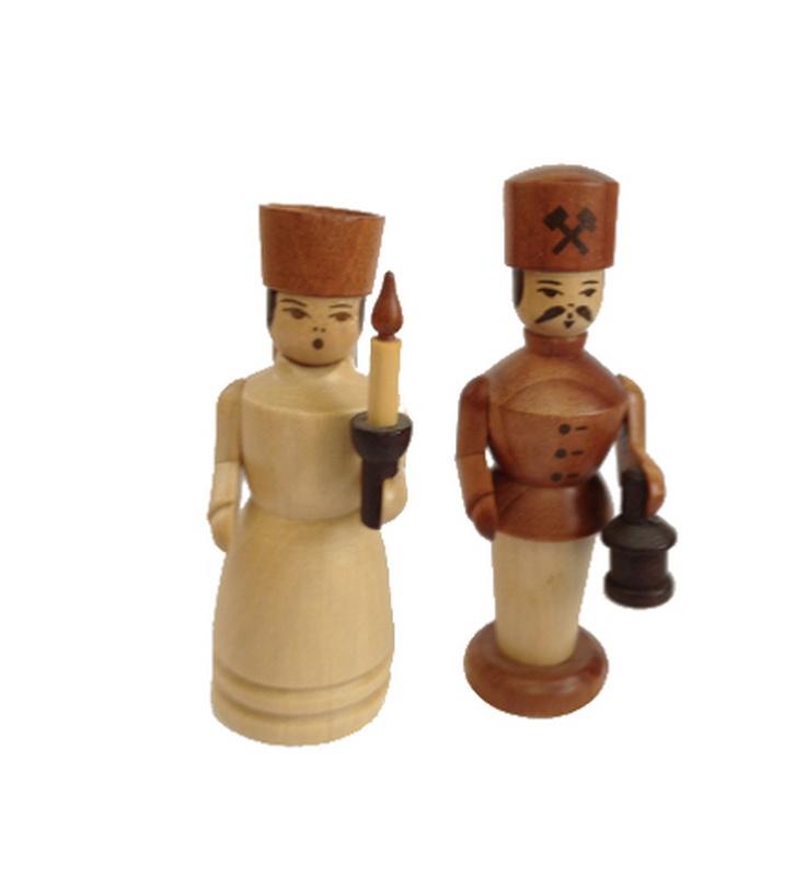 Engel und Bergmann, mini, 5 cm, Spielwarenmacher Günther Seiffen/ Erzgebirge