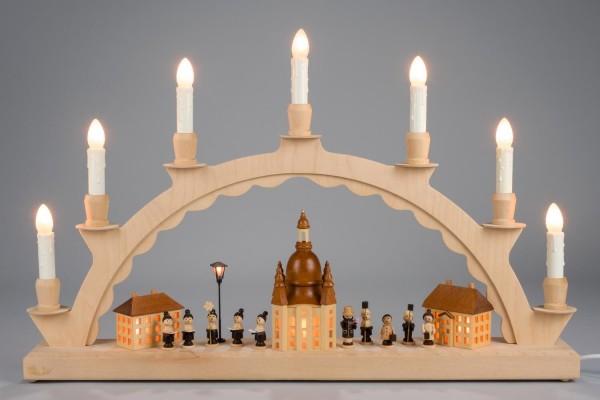 Schwibbogen Dresdner Frauenkirche mit Kurrende und beleuchteter Laterne, komplett elektrisch beleuchtet, 50 x 28 cm, Nestler-Seiffen.com OHG Seiffen/ Erzgebirge